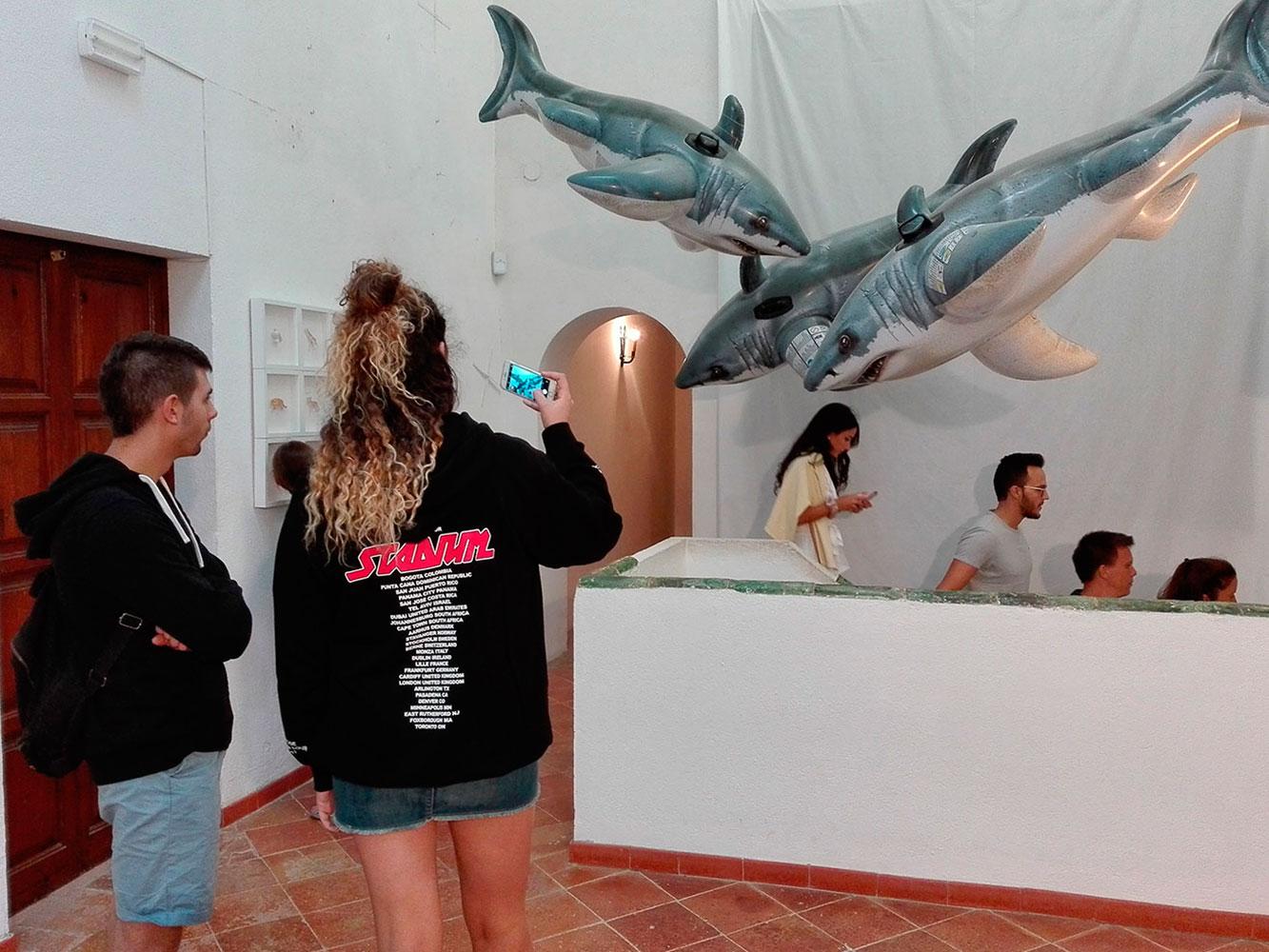Públic fent fotos a la instal·lació artística de Josep Maria Compte